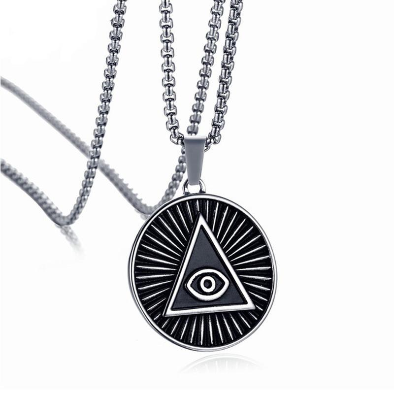 """35MM Mens Eye of Providence Pendant Necklace Vintage Stainless Steel Black All-seeing Eye Male Jewelry 24"""" Box Chain Statement Neckalces"""