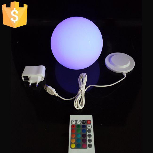 ماء 20CM عينة الصمام الكرة ضوء أضواء غلوب مضيئة للديكور المنزل مع بطارية ليثيوم قابلة للشحن 2pcs / Lot