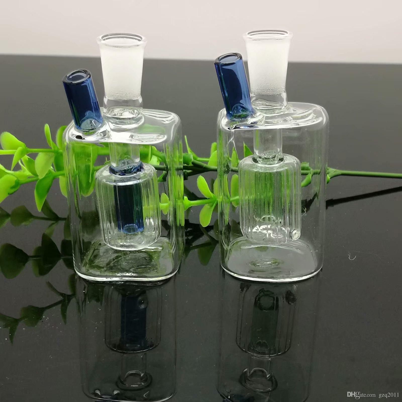 Sıcak yeni mini kare filtre cam su şişesi, Cam Bong Su Boru Bongs Boruları Aksesuarları Kaseler, renk rastgele teslim