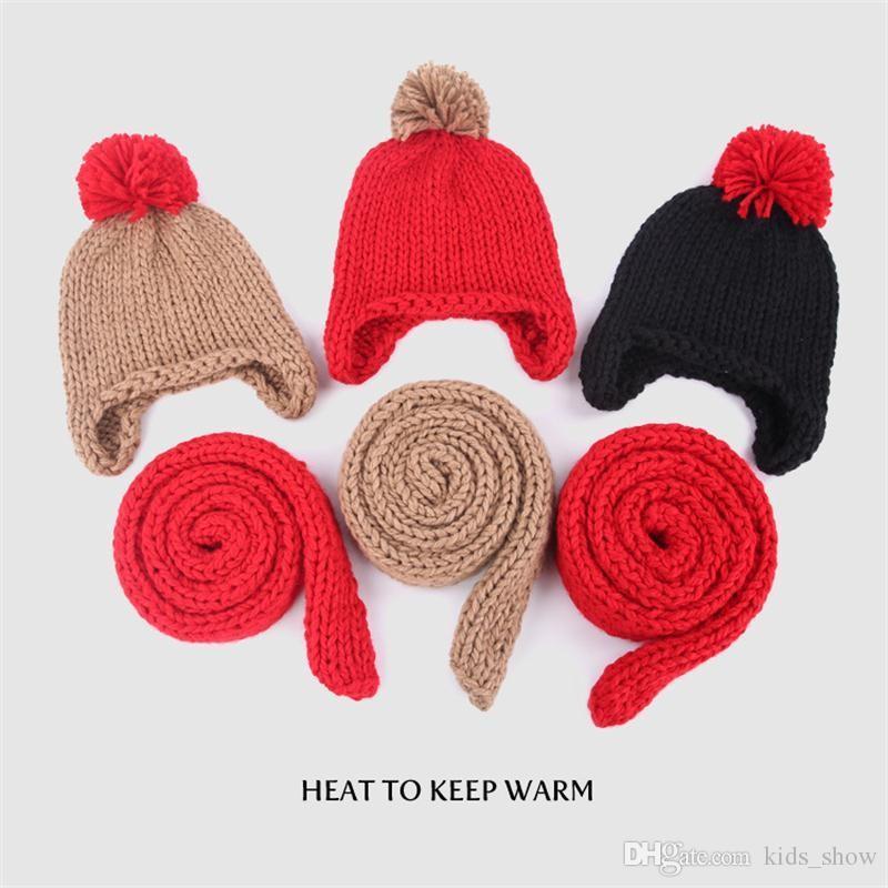 Bébé hiver chapeau ensemble foulard chaud enfants Bonnets tricotés Bonnets cadeaux de Noël filles garçons garçons casquette écharpe Bonnets couleur unie