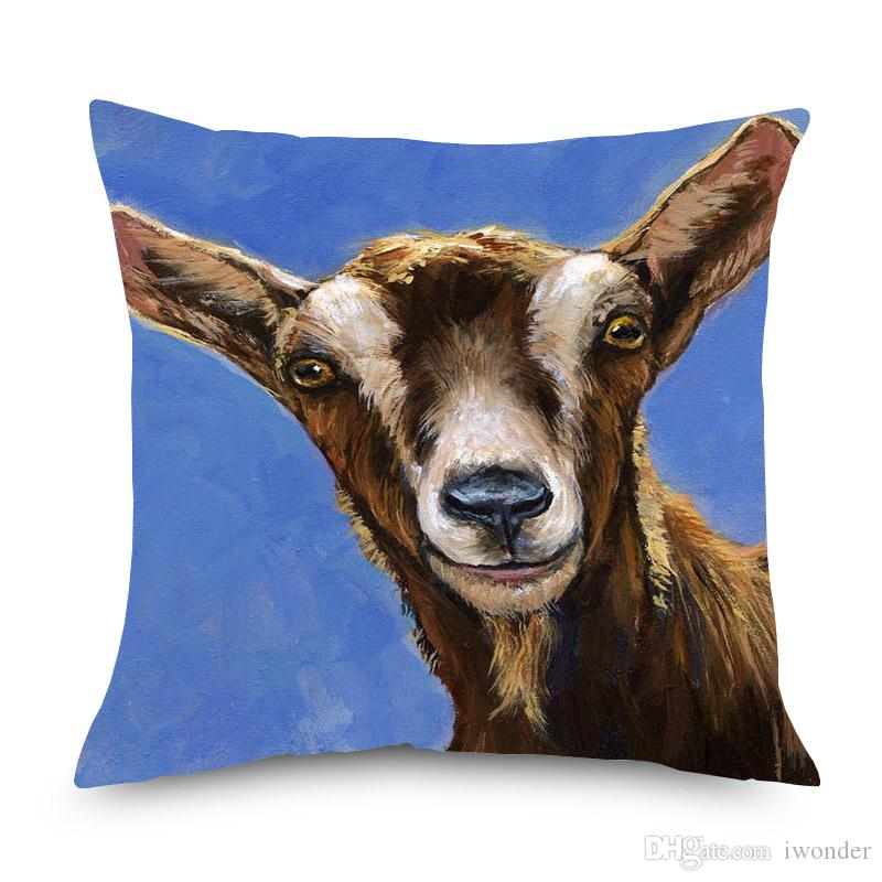 Pig Goat Sheep Oil Painting Cushion Cover Animal Favor Home Decorative Linen Pillows Cover for Sofa Chair Seat