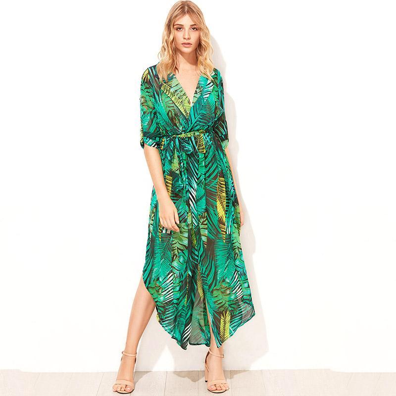 PRETTY KITTY Elegante cuello en v estampado floral vestido largo de mujer con cordón botón verano maxi vestido Casual robe femme vestidos
