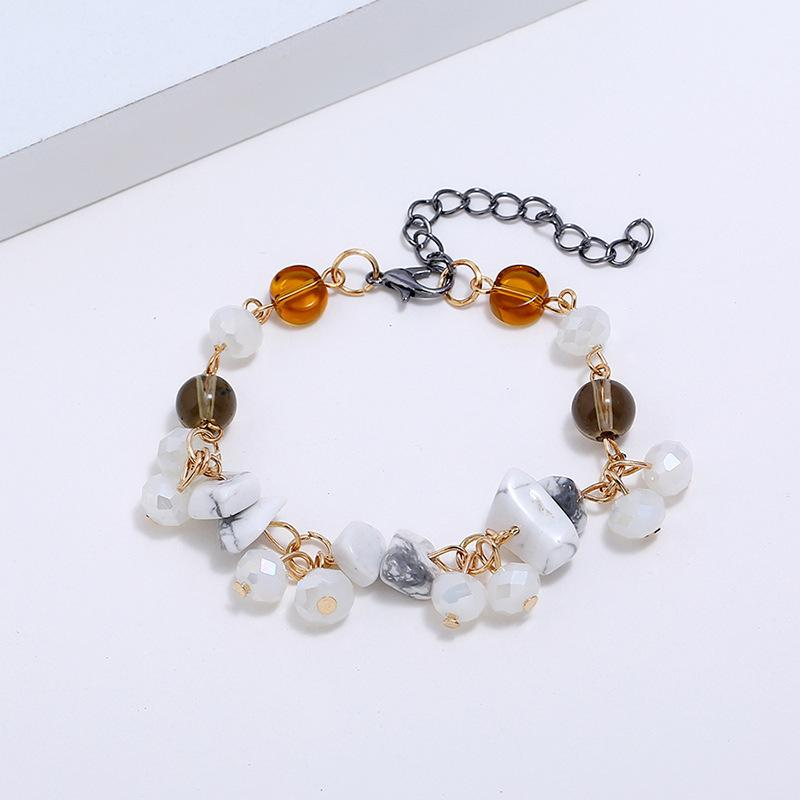 New gold alloy fashion white turquoise bracelet Popular delicate ladies beaded resin jewelry