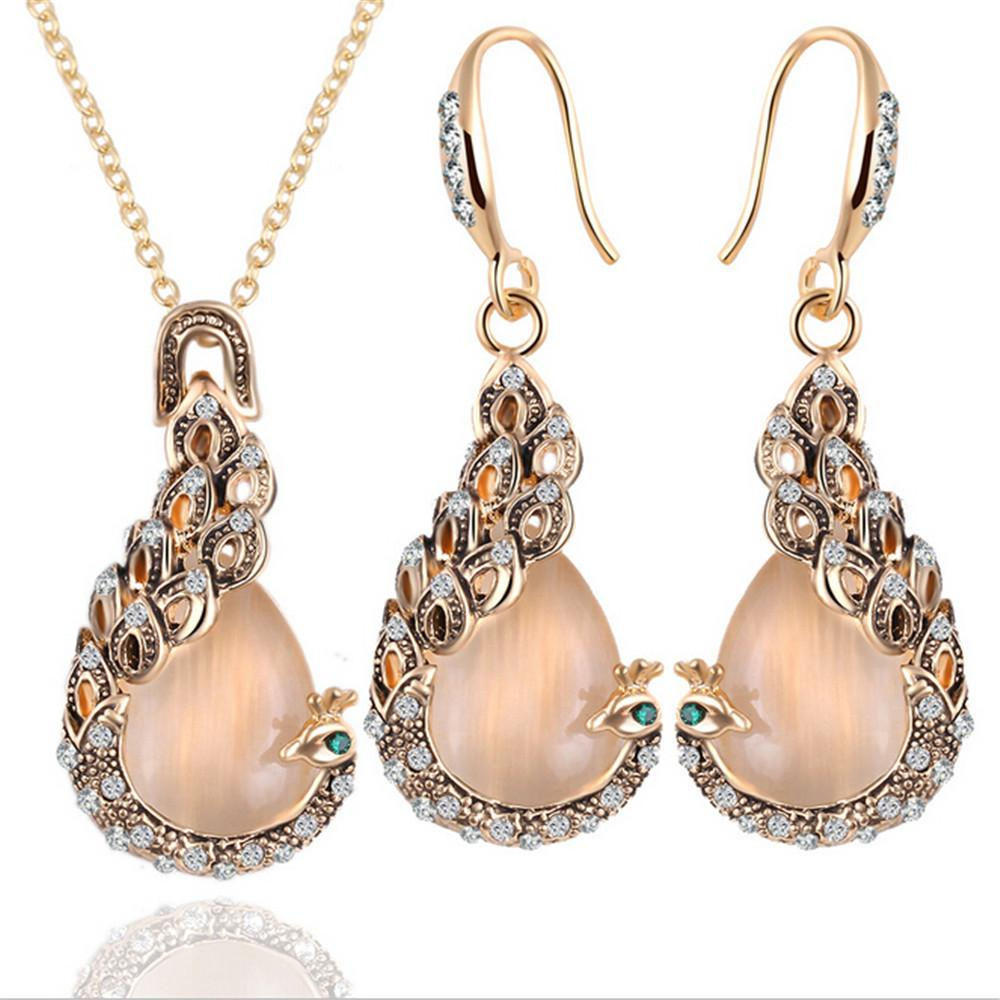 European and American fashion women's elegant water drop water Diamond Pendant Necklace Earrings Jewelry Set wholesale