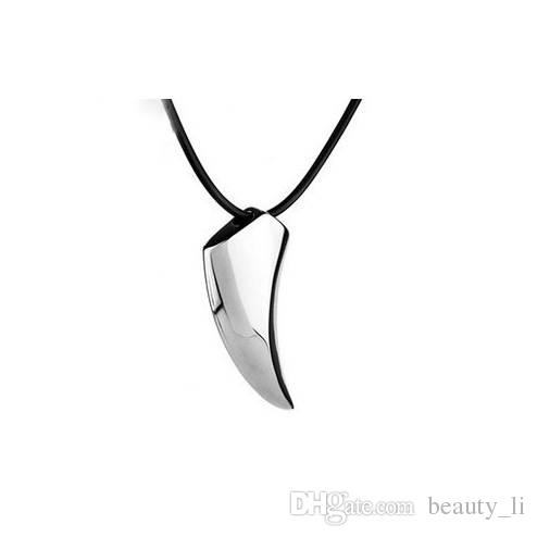 LEMOER Fashion Brave Men's Necklace Stainless Steel Wolf Tooth Necklace Animal Pendant Necklaces Jewelry Gift Wholesale