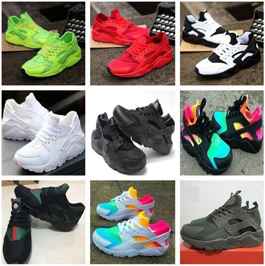 2018 New Air Huarache Running Zapatillas Entrenadores Big Kids Boys Girls Men and Women Black White Aire libre Zapatos Huaraches Sneakers Envío gratis
