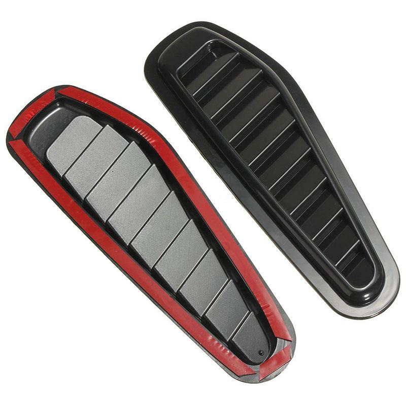 2pcs ABS Plastic Car Air Flow Intake Hood Scoop Turbo Bonnet Vent Cover Fender Stickers Black Car Styling Decorative