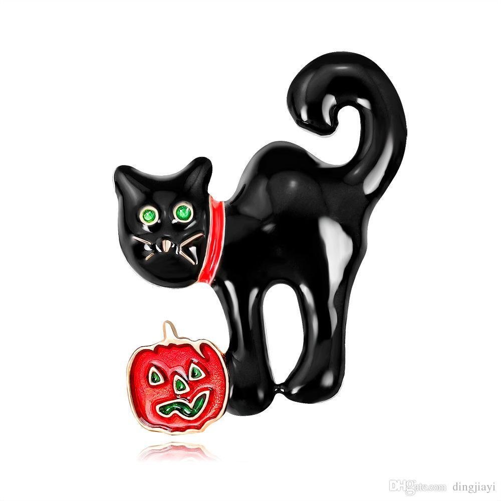المرأة القطة مجوهرات بروش دبوس معدني أسود القط المينا دبوس هالوين دبابيس ودبابيس دبابيس إكسسوارات الملابس