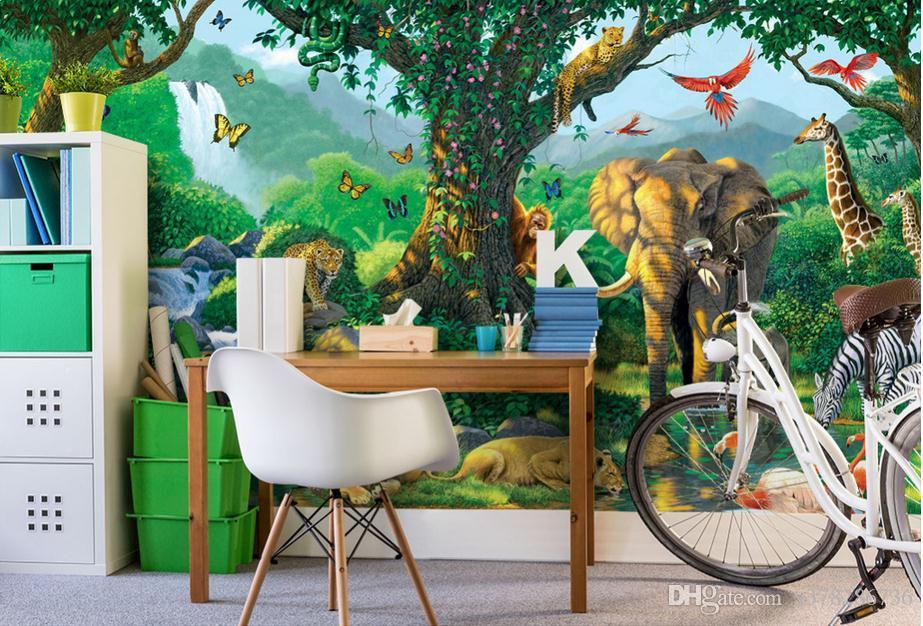 papel de parede mural a gran escala sin costuras 3D personalizado mural de la foto papel tapiz fondo de la sala de los niños verde del río bosques a la luz del sol mundo