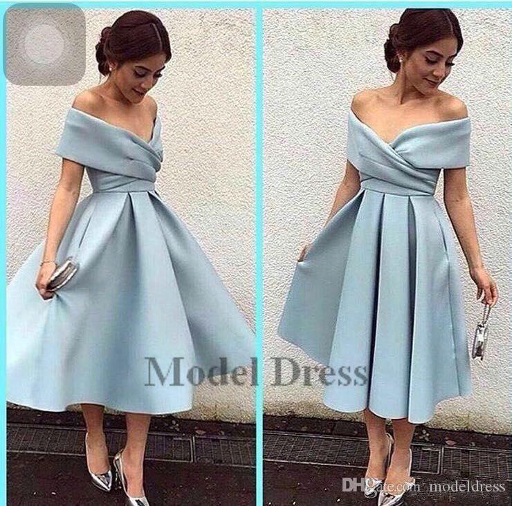 Arabric Style Tea-Length Prom Dresses V Neck Off Shoulder A Line Satin Light Sky Blue Elegant Dresses Formal Evening Gowns for Women