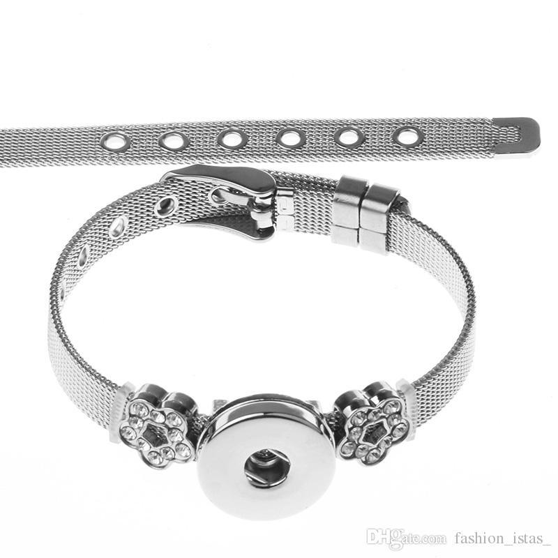 13 estilo Noosa Snap Button pulsera de cadena de acero inoxidable Fit 18mm Snap Buttons joyería botones de presión pulsera