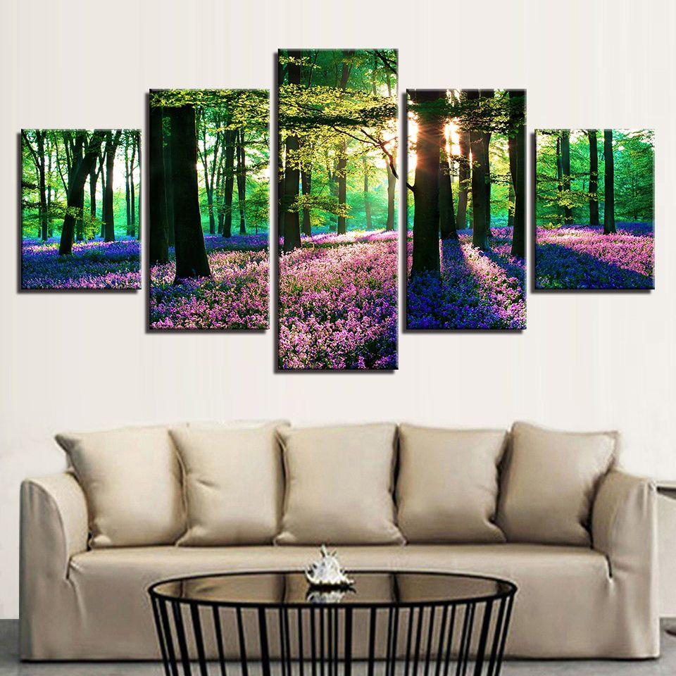Холст HD Отпечатки Картины Рамки Деревья Картины Гостиная Декор 5 Шт. Лес Фиолетовый Цветы Лаванды Плакаты Стены Искусства