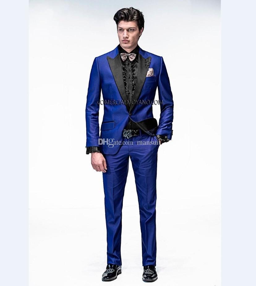 Custom Made Groomsmen Peak Yaka Damat Smokin Kraliyet Mavi Erkekler Düğün Takımları / Balo Best Man Blazer (Ceket + Pantolon + Papyon) M305