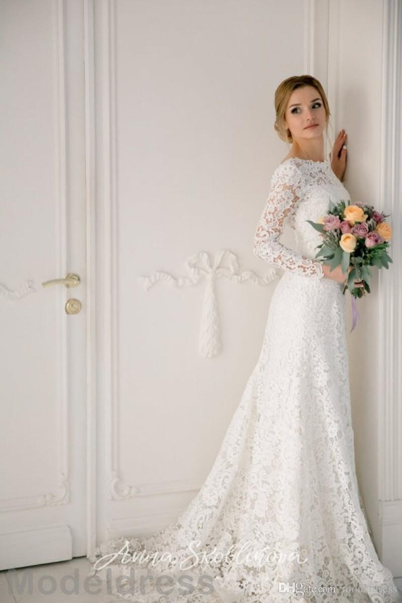 Vintage lace Wedding Dresses Long Sleeve 2018 Jewel Backless Floor Length Cheap Bridal Gowns Plus Size African Custom Made