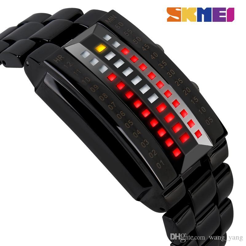 SKMEI Fashion Creative Lovers 'Orologio da polso Binario LED Orologi sportivi elettronici Smart Watch per uomo Donna Regalo Relogio Masculino