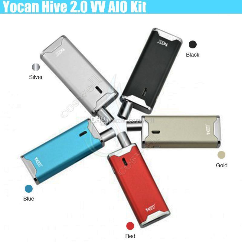Auténtico kit Yocan Hive 2.0 Vaporizador Kit Hive2.0 650mAh VV Conector Caja de la batería Mod vape pluma Cera Aceite grueso 2 en 1 Cartuchos Atomizadores