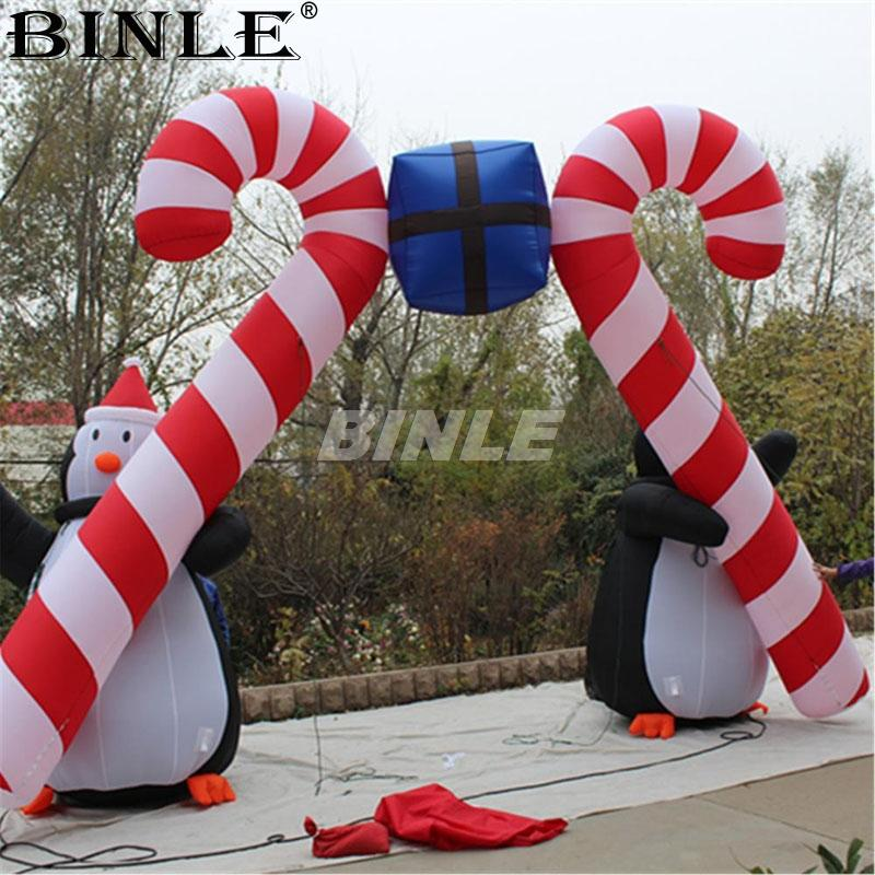 6m 20ftW large outdoor gift shaped christmas inflatable arch ornament penguin candy cane archway for Xmas holiday decoration
