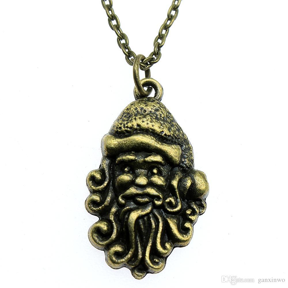WYSIWYG 5 штук металлические цепи ожерелья подвески женщины ожерелье ювелирные изделия Рождество Санта-Клаус 31x19mm N2-A12698