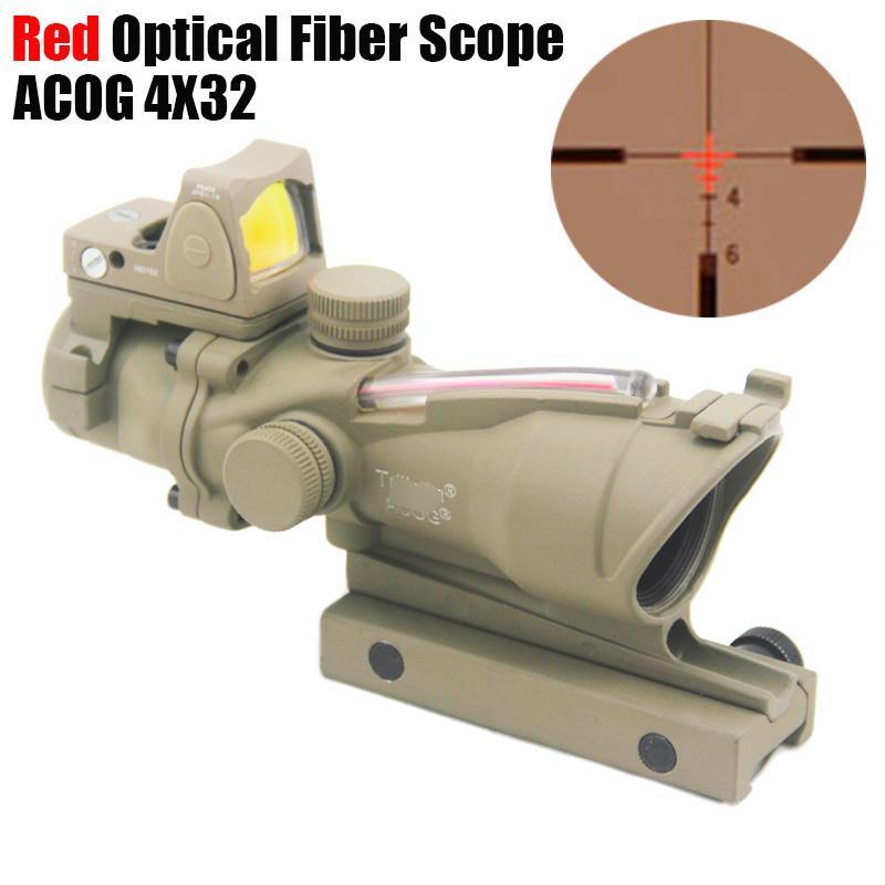 Tactical Trijicon ACOG 4X32 Fiber Source Red Optical Fiber(Real Fiber) Scope w/ RMR Micro Red Dot Marked Version Black/Dark Earth
