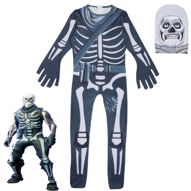 Cosplay Fortress night skull trooper Fortnited Costume Traje de Halloween Crianças Fantasma esqueleto rosto Carnaval Criança Jumpsuits Body suit / mask