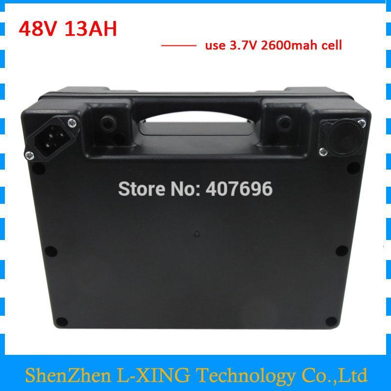 48volt Roller Batterie 48V 13AH 48 V ebike Lithium-Ionen-Batterie 13AH mit wasserdichtem schwarzem Kasten 20A BMS 2A Ladegerät freiem Versand