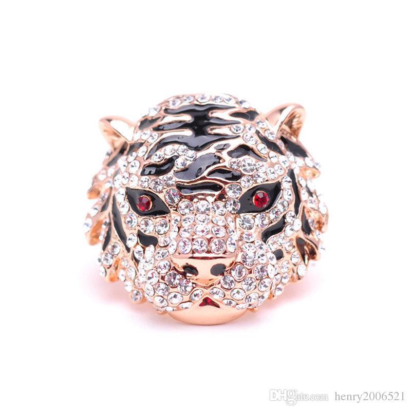 Genuine Tiger head Austrian high-grade crystal diamond ring finge Ring size 8
