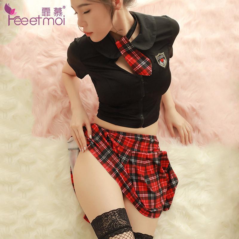 Luxus Britischen Stil Uniform Frauen Sexy Cosplay Dessous Schulmädchen Student Plaid Kostüme Outfit Alter Bra + Miniröcke