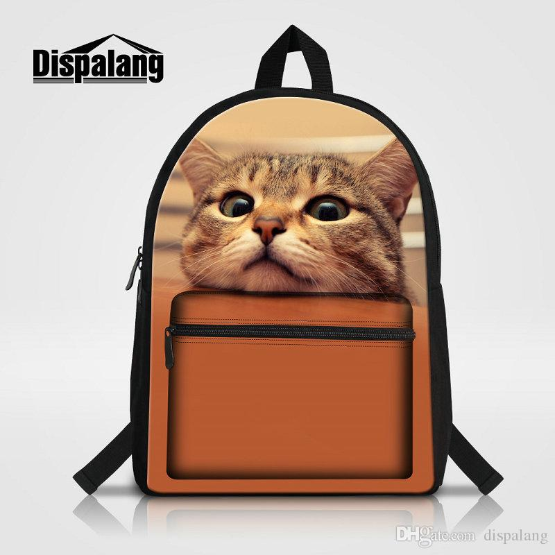 Mochila Feminina Girl School Bags Women's Travel Shoulder Bag Canvas Backpack Cat Printing Laptop Bag Female Back pack Children Knapsack Sac