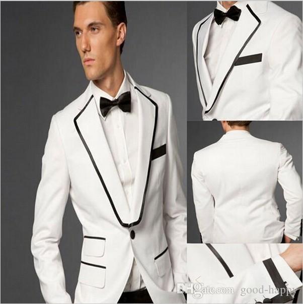 Design personalizado Branco 2 Peça Terno Homens Casamento Tuxdos Excelente Noivo Smoking Homens de Negócios jantar Blazer Prom (Jacket + Pants + Tie + Cinto) 1282