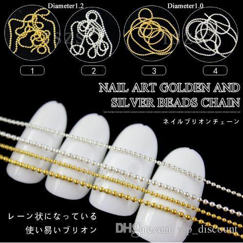 200cm / lot Or Argent Couleur Perle Ligne chaîne en acrylique Conseils bricolage décoration Nail Art Set