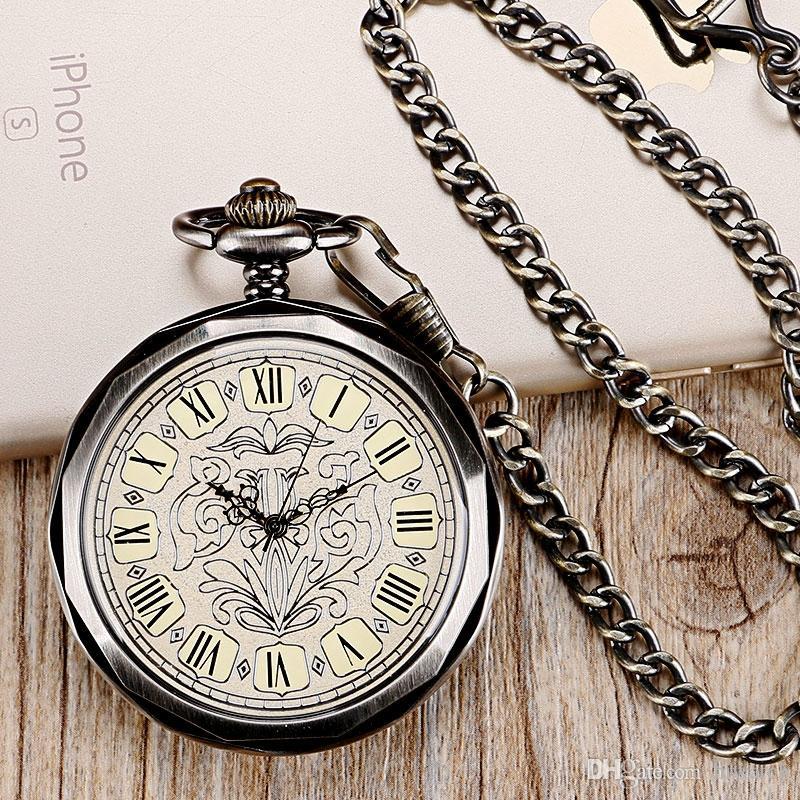 Ретро роскошные темно-серый ручной ветер механические карманные часы римские цифры циферблат классический кулон для мужчин женщин