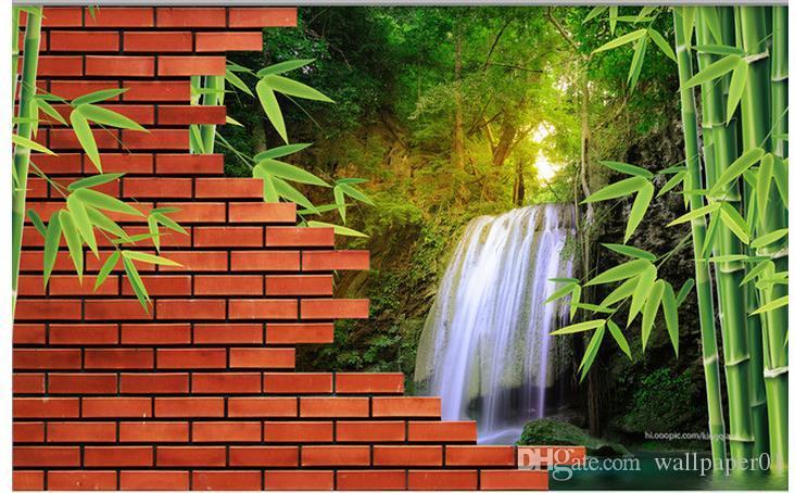 Custom Fototapeta Nowoczesna Sztuka Malarstwo Wysokiej Jakości Mural Tapeta Ceglany Mur Bambusowy Wodospad 3D TV Tło Wall Tapeta Mural