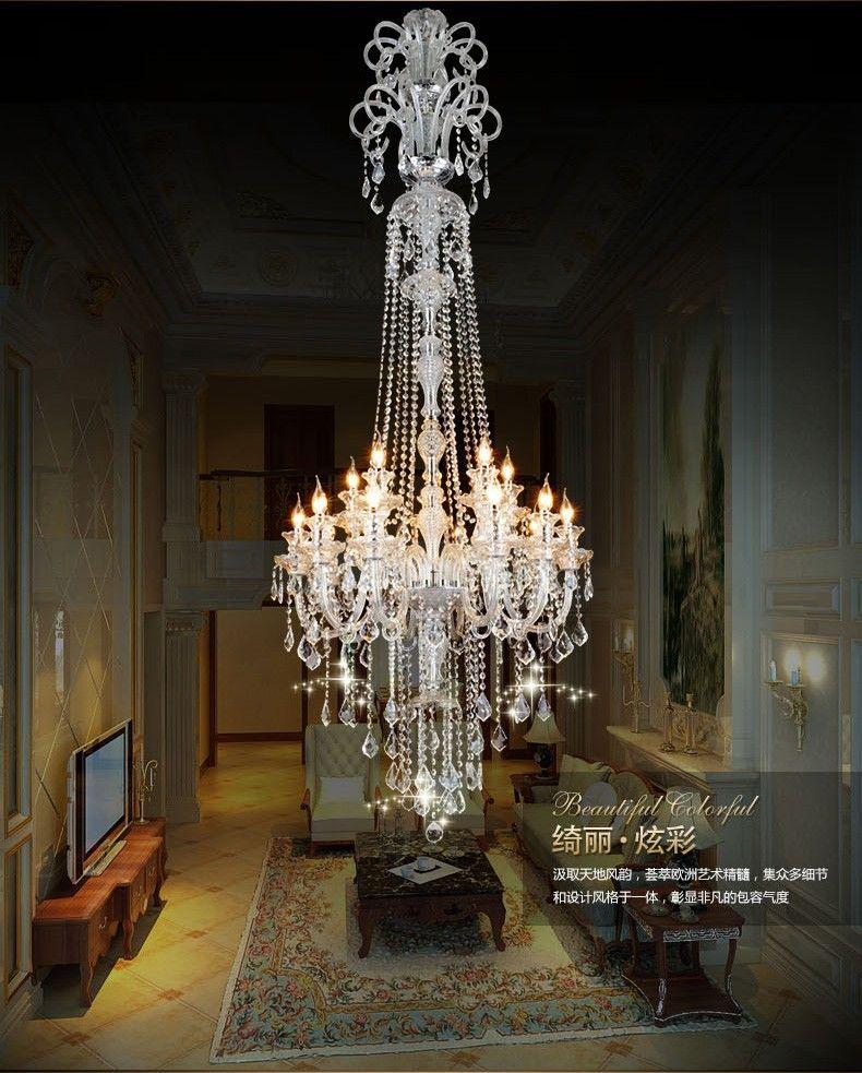 Lampadario di cristallo di lusso lungo stair longs di lusso moderno K9 hall Lustres de Cristal candela
