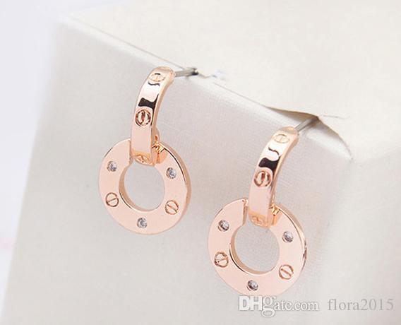 alta calidad de marcas famosas joyas de color rosa chapado en oro aretes de diseño para el mejor regalo de Navidad las mujeres de lujo para damas