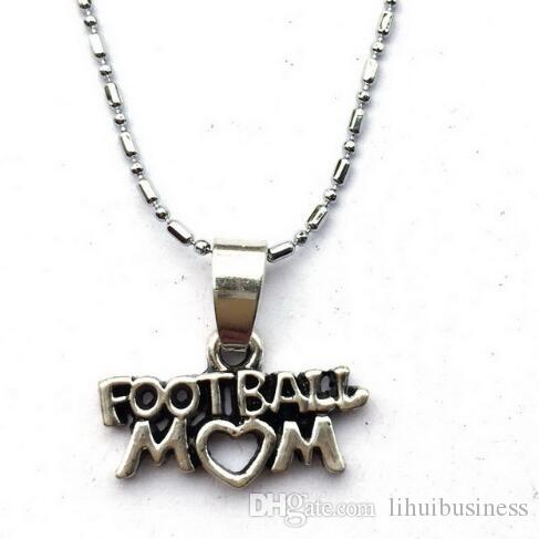 10pc/lot Football Mom Chain Necklace-Lariat Style Sports Team Mom School Spirit Game Day Gift drop shipping hot sale handmade jewelry