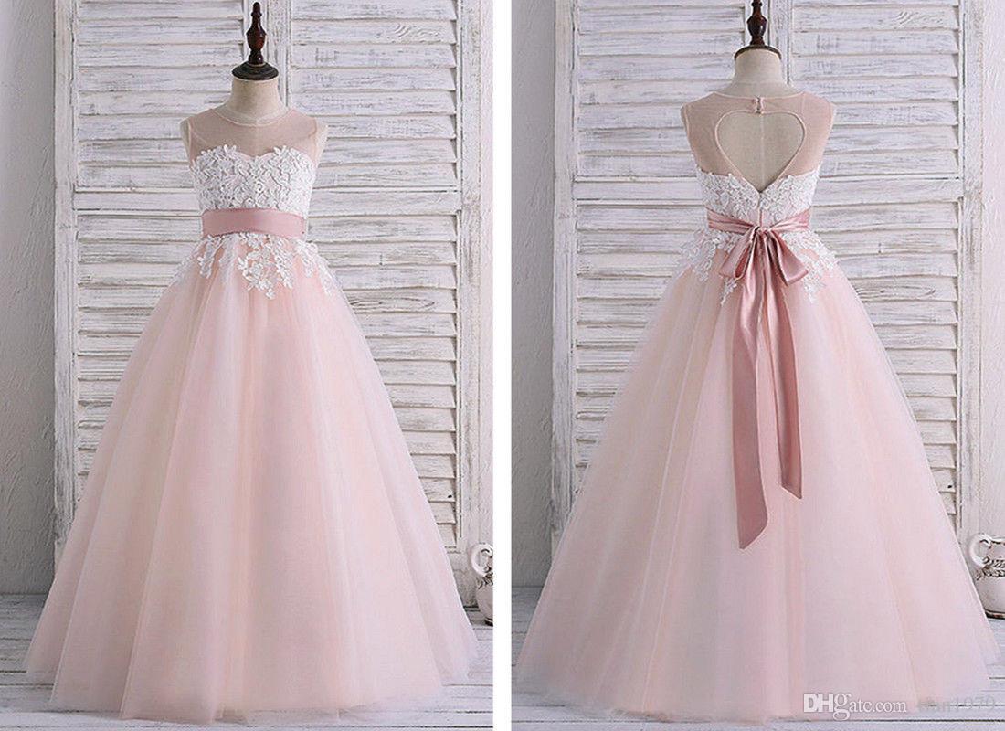 Abiti da ragazza di fiori per compleanni di nozze Abiti da cerimonia di pizzo Abiti da cerimonia di Tulle Ball Gown Girls Formal Dress