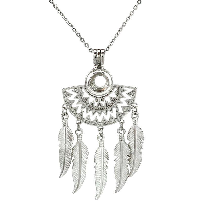 Native Half Moon Beaming Sun Fan Forme Filigrana ciondola la piuma di perline collana gabbia di perle 20 pollici
