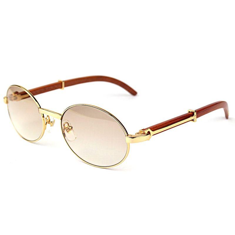 Vintage Horn Occhiali da sole Uomini vetri liberi telaio di legno rotondo di vetro di Sun per il randello del partito Retro Shades Oculos Eyewear 348