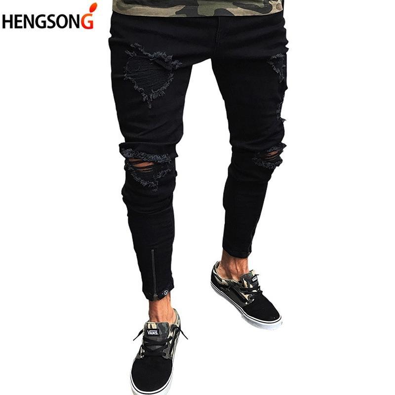 Отверстия джинсы мужские джинсовые брюки отверстия уничтожены колено карандаш брюки повседневные брюки черный стрейч рваные джинсы плюс размер 3XL