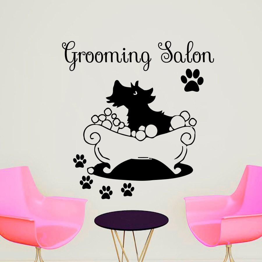 Removable wallpaper Grooming Salon Vinyl Stickers Spa Cat With Footprints Wall Sticker For Kids bedroom home Decoration