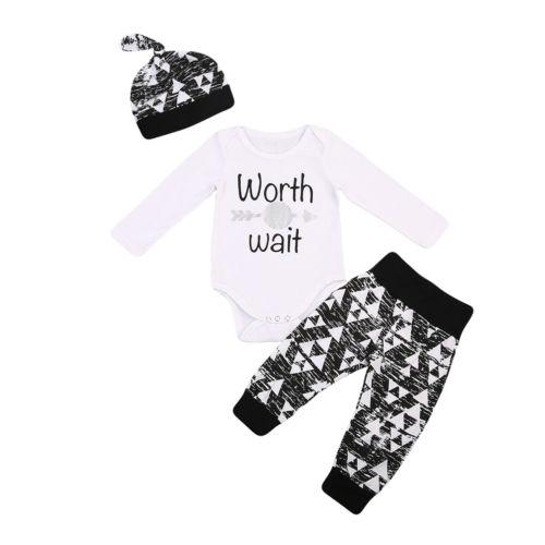 Baby Girl Boy Worth The Wait  Romper Jumpsuit Camo Pants Outfits Clothes 0-18M