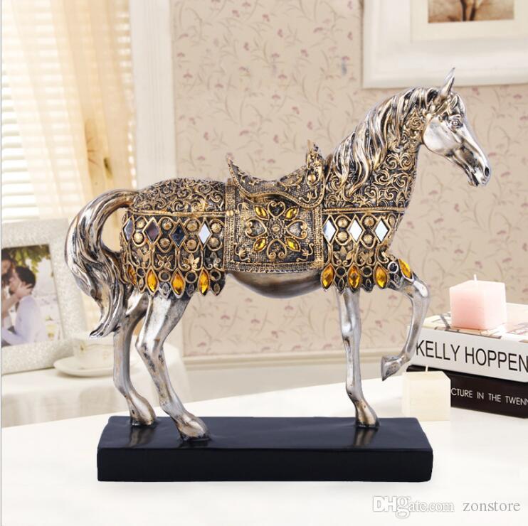 """28.5 سنتيمتر (11.4 """") ارتفاع الراتنج الذهبي الخب الحصان تمثال الحيوان النحت الحصان تمثال مصغرة مكتب ديكور المنزل"""