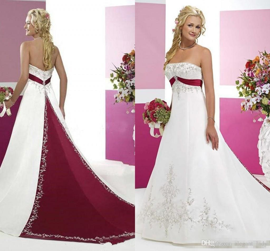 Red And White Wedding Dresses 2018 Vintage Retro Stain Lace Embroidery Strapless Backless Country Beach Bridal Garden Wedding Gown