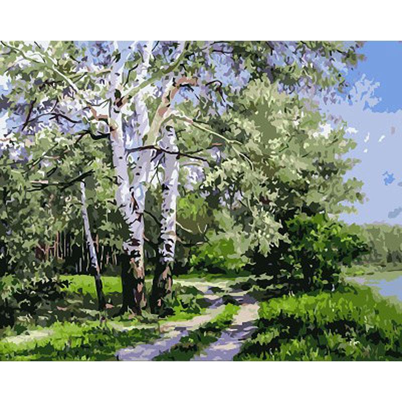 Dipinto a mano Frameless Picture Landscape Forest Byy Modern Wall Art Home Decor Pittura acrilica con numeri per opere d'arte