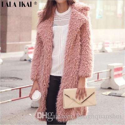 Toptan-Yeni Moda Sonbahar ve Kış Palto Lambswool Tam Kollu Ceket Uzun Kürklü Coat Ücretsiz Kargo için