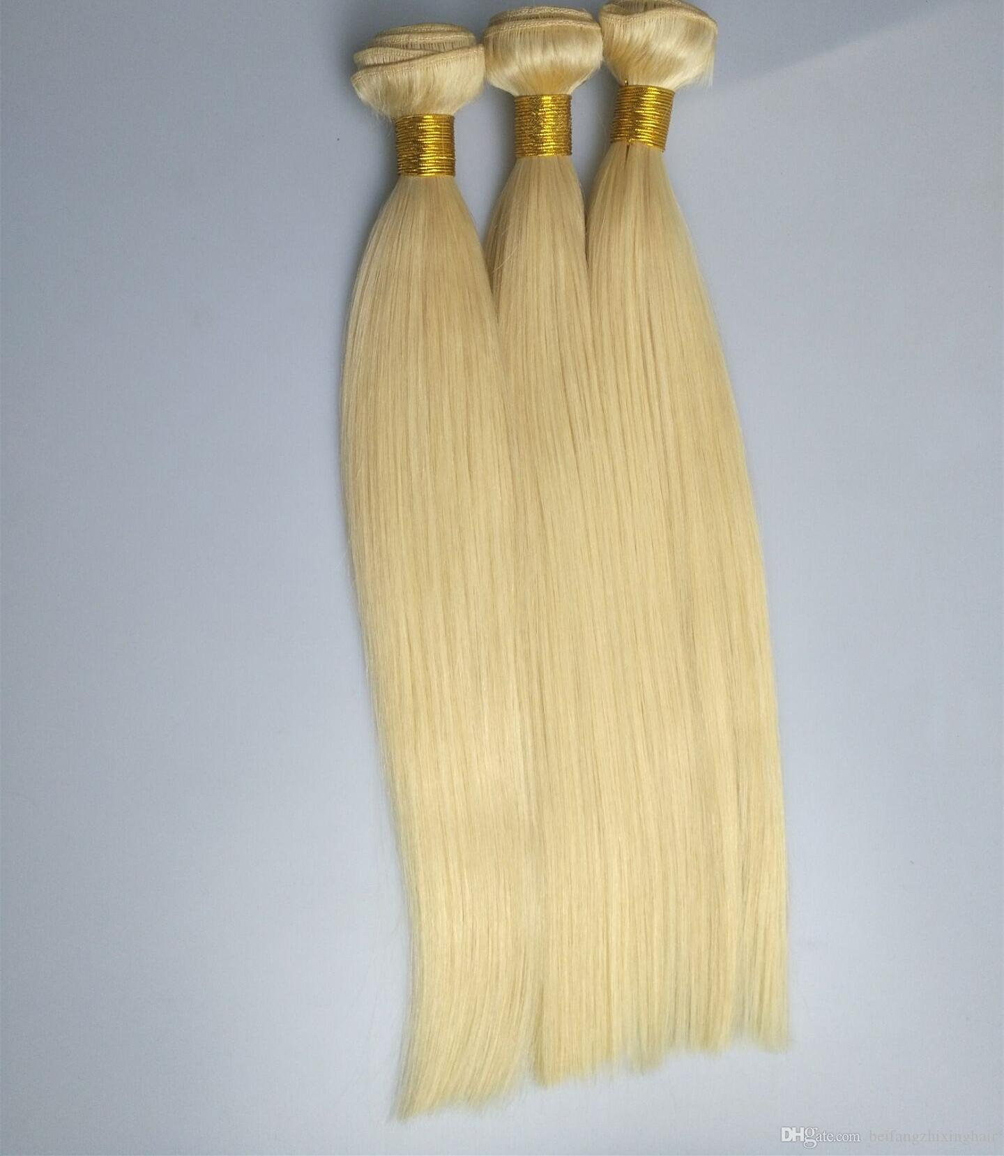 최고 품질의 실크 스트레이트 웨이브 헤어 번들 100 % 인간 페루 머리 100g / pc3pcs 많이, 24inch 색상 613 # P6 / 61326Inch 갈색 색 4 #, 9 로트