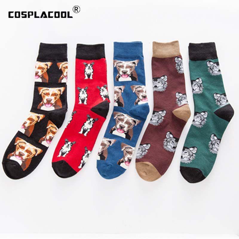 [COSPLACOOL] Cute Pug / Dog Funny Happy Calcetines Skarpetki Hombres Hip Hop Creative Harajuku Hombres Calcetines Crew Calcetines Hombre Chaussette