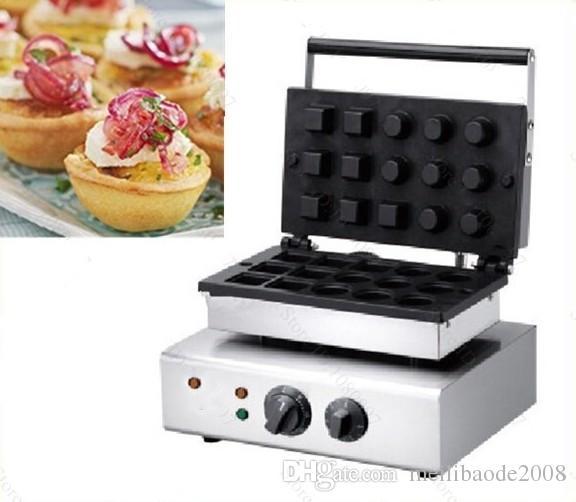 Livraison Gratuite Commercial Antiadhésif 110v 220v Électrique 15pcs Mini Pâtisserie Ronde Tarte Tartelette Tarte Shell Machine Maker Fer LLFA