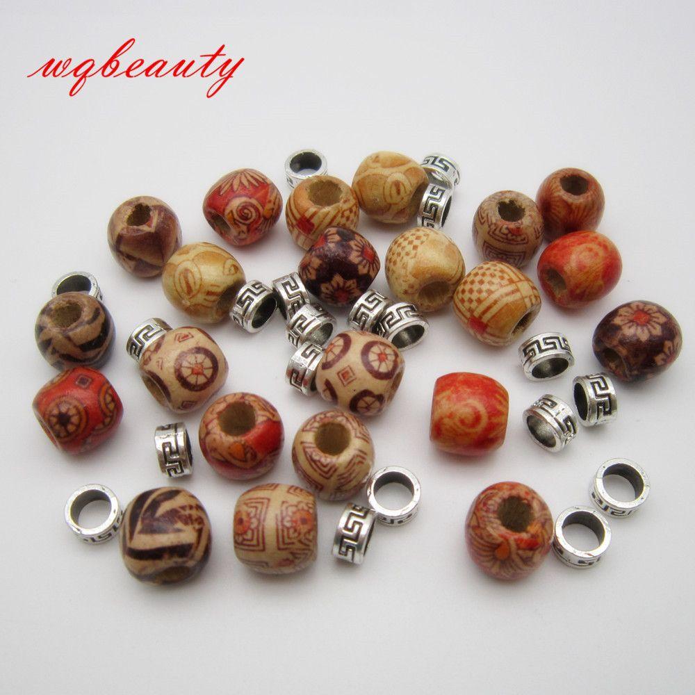 50 Unids / lote mezcla de madera metal pelo trenza dreadlock cuentas anillos anillos puños
