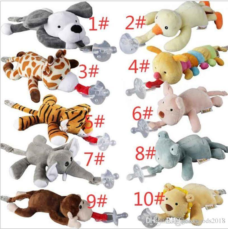 10 Style New silicone animal pacifier with plush toy baby giraffe elephant nipple kids newborn toddler kids Products include pacifiers TO52